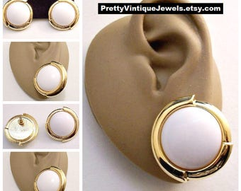 Monet White Big Buttons Pierced Stud Earrings Gold Tone Vintage Wide Curved Layered Band Edge Brushed Lined Backs Surgical Steel Posts