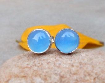 Aqua Blue Chalcedony Stud Earrings Sterling silver studs Chalcedony Earrings Round Bezel Studs  Small studs Tiny stud earrings Gift for her