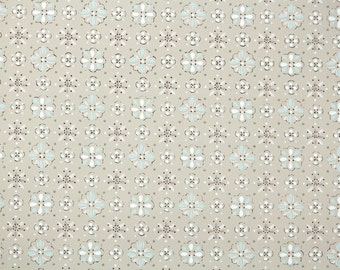 1940s Vintage Wallpaper by the Yard - Blue and White Geometric on Beige
