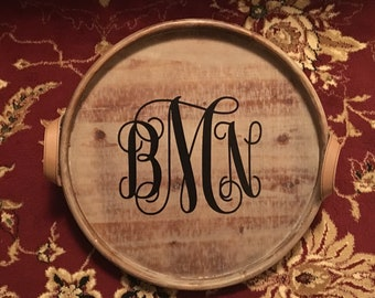 Personalized Wooden Tray, Monogram Wood Tray