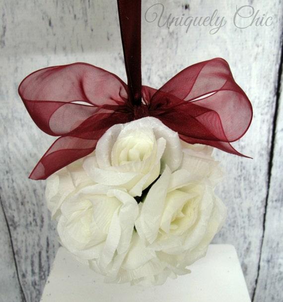 White wedding kissing ball Flower girl bouquet Reception