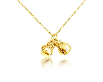 Gold boxing necklace etsy 3d boxing gloves pendant necklace 14k gold plated over 925 sterling silver azaggi n0707g aloadofball Images