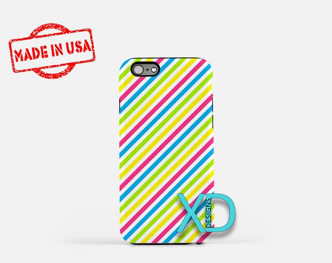 Neon Rainbow Phone Case, Neon Rainbow iPhone Case, Diagonal iPhone 7 Case, White, 88 iPhone 8 Case, 99 Tough Case, Clear Case, Lined, Stripe