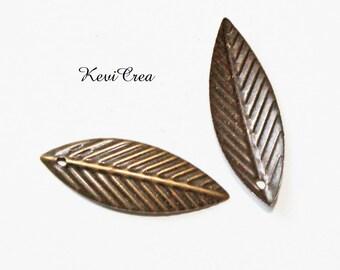 50 x charm bronze leaf charms