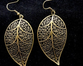Bronze leaf earrings, Large leaf earrings, Bronze earrings, Boho style earrings