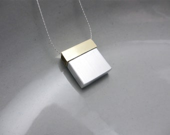 Minimalist Necklace Contemporary Mixed Metal Jewelry Architecture Series I