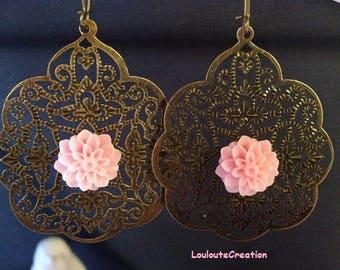 Earrings large filigree and pale pink chrysanthemum flowers prints