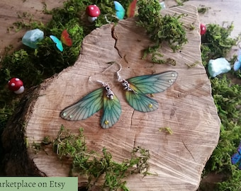 Beautiful Woodland Fae Wing Earrings with fairy charms