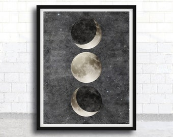 Moon Phases Poster - Moon Art - Moon Poster - Moon - Outer Space - Astronomy - Moon Phases Art - Full Moon - Astronomy Poster