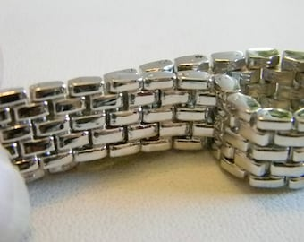 Solid Weaved Chain Link Bracelet - Silver Tone Finish