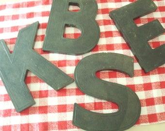 Vintage black display letter, upper case B, E, K or S sign letter, choose 1 hard plastic initial, vintage industrial signage, name display