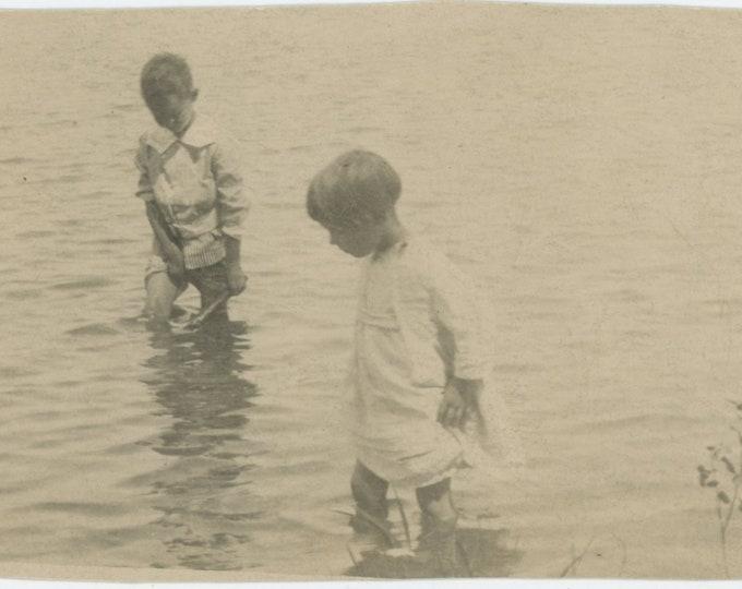 Vintage Snapshot Photo: Children Wade in the Water [84662]