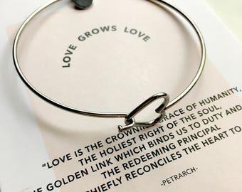 Stainless Steel Heart Bangle/ LOVE bracelet/ Inspirational Jewelry/ Friendship Bracelet