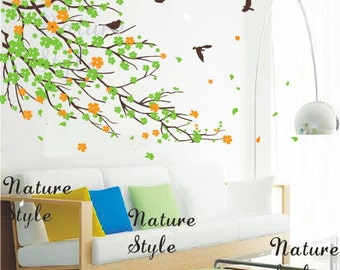 Cherry blossom branches and birds -Nursery wall decal baby girl room wall decals flowers cherry blossom wall sticker wedding office decal