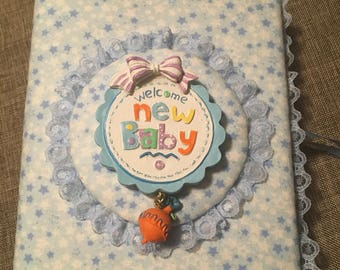 Custom Photo Album - For Boy - Welcome New Baby Holds 100 4x6 Photos -Handmade