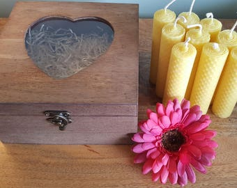 Small Hand Rolled, 9 x 100% Pure, Natural, Beeswax, Candles, presented in a Wooden, Heart, Box, hand stained, perfect Birthday Gift
