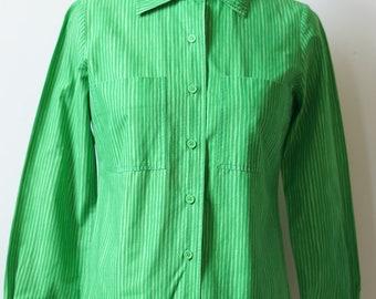 1960s Marimekko Vibrant Green Striped Blouse