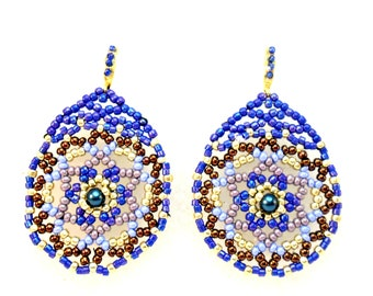 Statement Earrings Gaudi Style Toho Boho Round Earrings