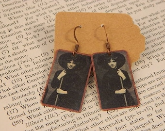 Witch earrings vintage Witch jewelry mixed media jewelry