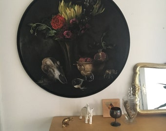 Original Oil Painting of a Still Life with Skull, Hour Glass, Pomegranate, and Flowers