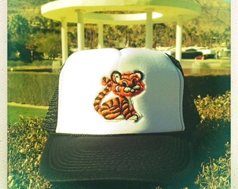 Vintage 70s Embroidered TIGER Patch stitched on New Snap-back Trucker Cap / Hat