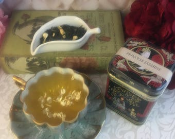 Princess Jasmine Green Tea 2 oz in Vintage Asian Inspired Gift Tin Caddy or Pouch