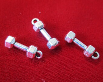"5pc ""dumbbell"" charms in antique silver style (BC461)"