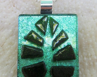 Green  dichroic fused glass Leaf Pendant