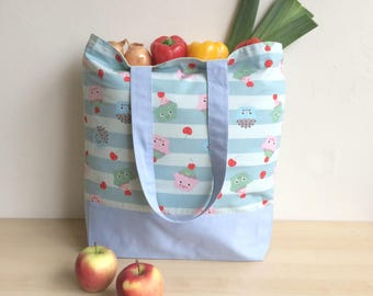 Blue kawaii bag, Big shopping bag, Kawaii cupcakes, Large tote, Kawaii Shopper, Big shopper, Grocery bag, Blue shopping bag, Beach bag