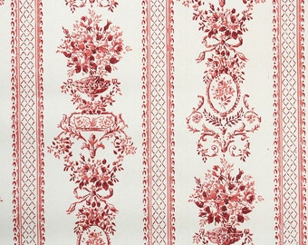 Retro Wallpaper by the Yard 70s Vintage Wallpaper - 1970s Red and White Floral Damask Stripe with Victorian Roses