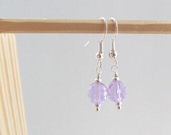 Purple Earrings, Lilac Earrings, Light Purple Silver Earrings, Faceted Glass, Bead Dangle Earrings, Hook Fitting Earring, Gift for Mum