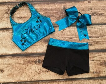 Girls Dance Top and Shorts,Girls Cheer Top and Shorts,Dancewear,Cheer Clothes,Cheer Bow,Dance Bow,Activewear,Cheer Outfit,Dance Outfit