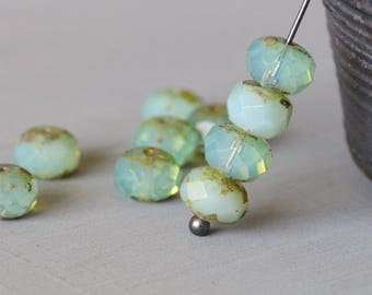 9x6mm (10) Light Aqua Opaline, Picasso, Czech, Glass, Faceted, Rondelle, Beads, 10 pieces