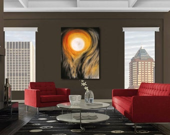 EXTRA LARGE wall art Halloween full moon canvas giclee print of pastel painting in orange, black & white by Kauai Hawaii artist Donia Lilly