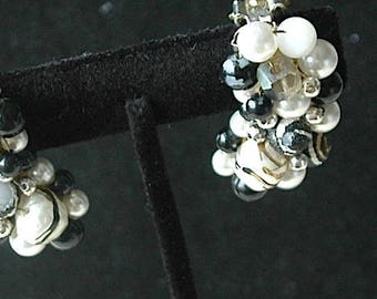 Vintage Black and White Bead Cluster Clip-On Earrings - SALE