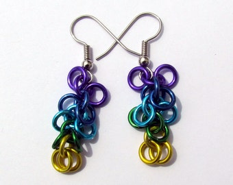 Chain Maille Earrings, Shaggy Loops, Multicolor Earrings, Purple Blues Green Yellow, Jump Ring Jewelry