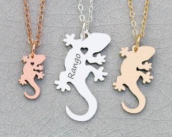 Gecko Necklace Lizard Charm • Gecko Jewelry Lizard Gift Reptile Jewelry • Pet Animal Unique Pet Gift Memorial Pet Loss Gift