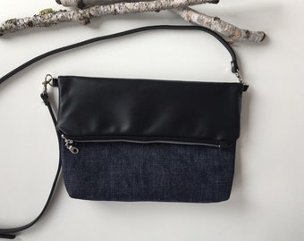 Denim & Black Vegan Fold Over Bag // Crossbody Purse // Crossbody Bag // Purse // Vegan Crossbody Bag // Vegan