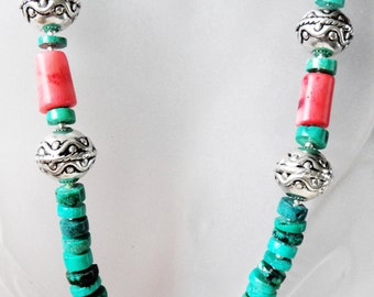 Natural Heishe Turquoise Necklace Coral Pendants Handmade  252