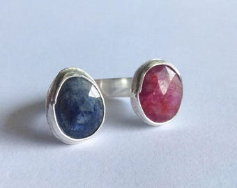 Pink and Blue Sapphire Adjustable Ring - size 5.5 - 6