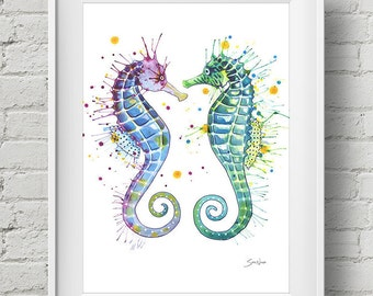 Guardians of the Sea : print seahorse watercolor painting