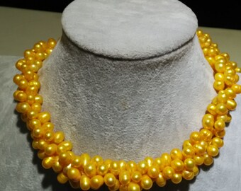 3 rows twist yellow freshwater pearl necklace