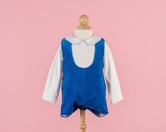 Vintage Blue Velvet Romper/Collared Shirt Set (Size 3/6 Months)