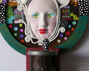 SEW WHAT  polymer found object sculpture antique and vintage pieces