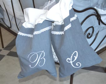 Old cloth laundry bag letter C