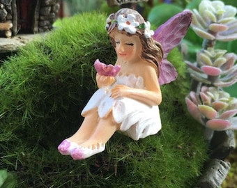 "SALE Tiny Mini Fairy ""Mari"" Figurine, Fairy Garden Accessory, Garden Decor, Topper, Terrarium Accessory"