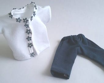 "Ginny 8"" Doll Clothes, ""Arissa"" Navy and White Beaded Jersey Jacket Top and Pants"