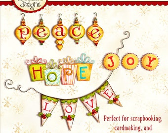 Christmas Word Art INSTANT DOWNLOAD Digital Printable Cardmaking - Scrapbooking Crafting KD116