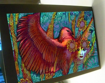 greeting card print of original art-  red phoenix mythical fantasy  Zentangle