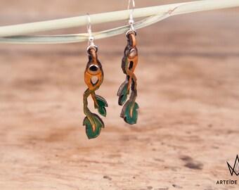 Boucles d'oreille verte et marron Hespérides